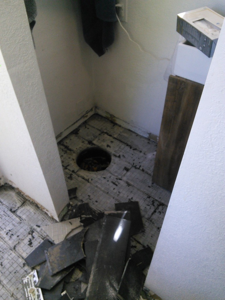I had to remove the toilet temporarily, I stuffed the hole with a blanket so the concrete didn't all  go down there...