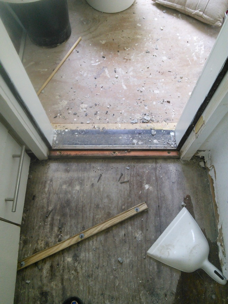 "this is the old patio threashold, we had to take it out so that the flooring is uniform into Hazel's room.  Turns out we have a 1/2"" discrepancy so I got a 1/2"" piece of plywood I'll be putting down to make it even,"