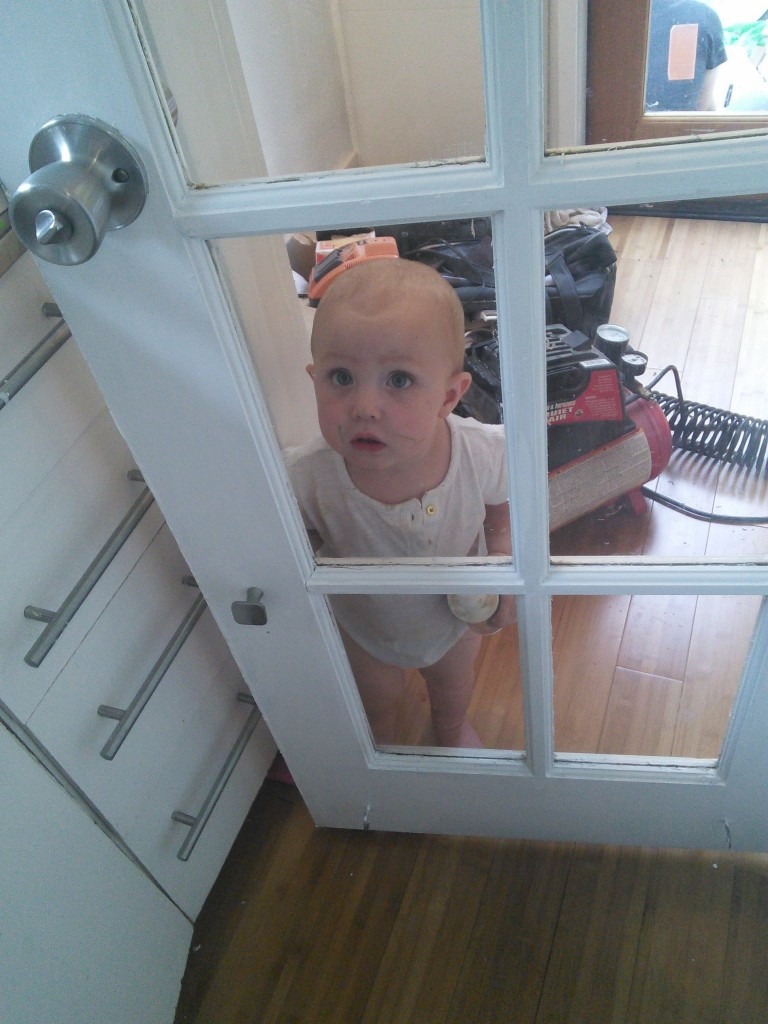 AND Hazel gt her own door nobs, she always tried to go in and out by grabbing the window frame, we were at the store looking at hardware and I thought it would be nice for her to have her own pulls.  She smiled SO big when they were put on!