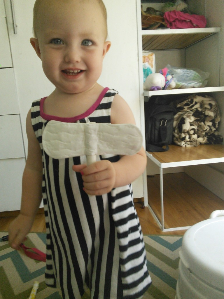 And she made a 'bird' out of the cool toys under the bathroom sink!