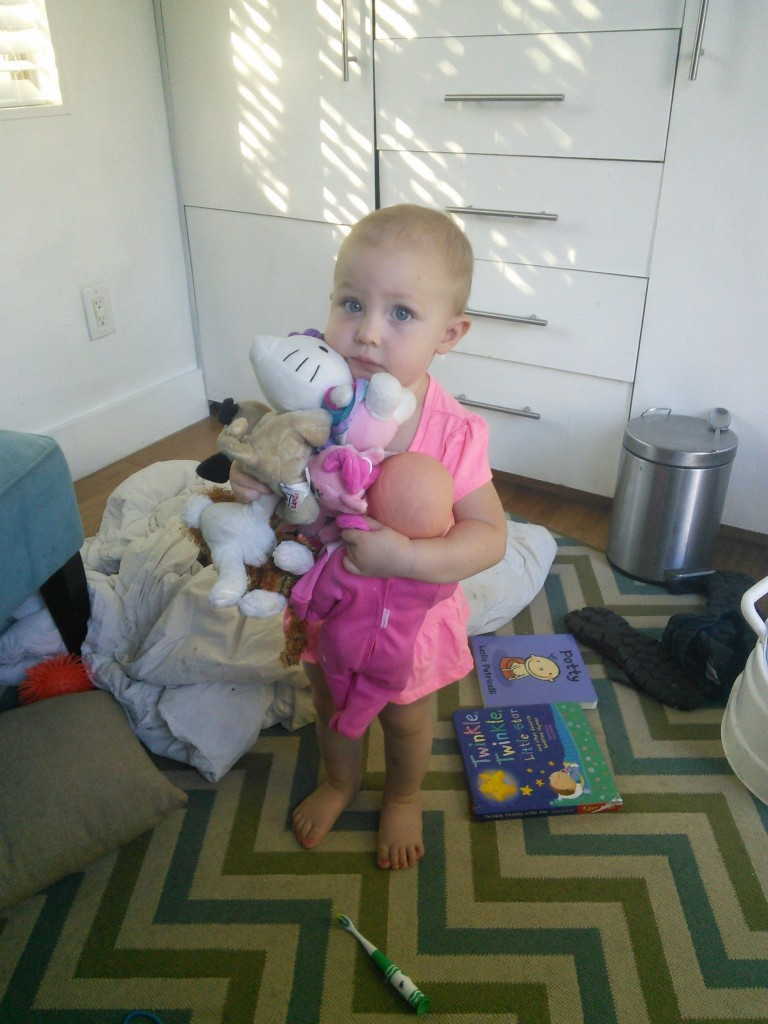 She makes a mess in NO time... takes 20 minutes to clean the tiny house but only 6 for her to mess it up!