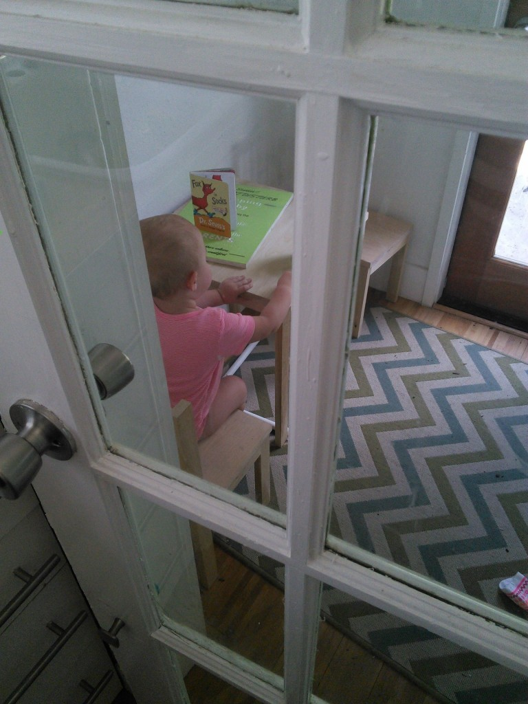 So today, after we ran our errands and got home Hazel walked up to me and said 'chiz plzzz' (aka cheese please), I handed her a string cheese, she grabbed her book, her sippy of water and walkedd to her room, shut the door, sat down at her table and had her snack... (she did not want me peeking in the door...