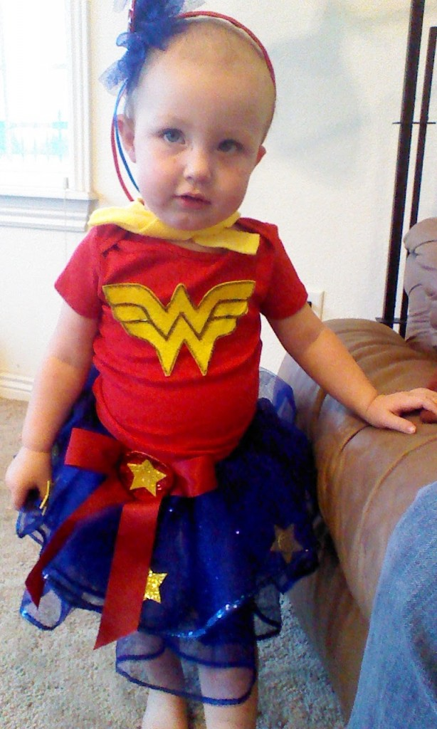 All done, this is a genaric, home made wonder woman, I wasn't putting her in the speedo and she wanted the cape...