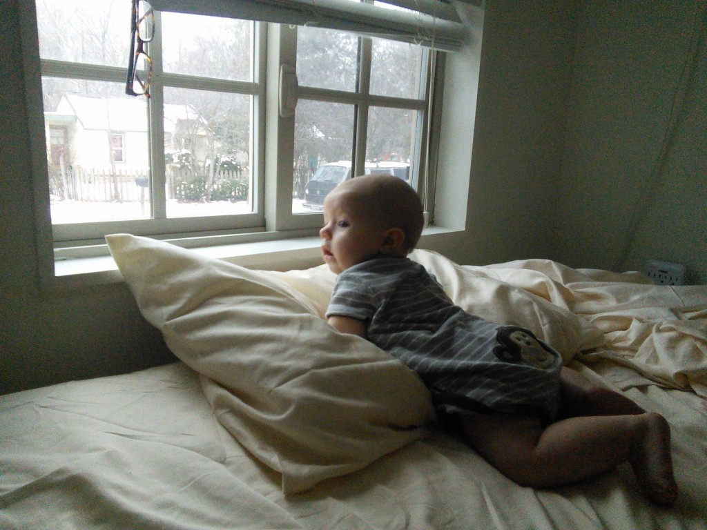 Both kiddos like to spend nap time looking at the world through the loft window