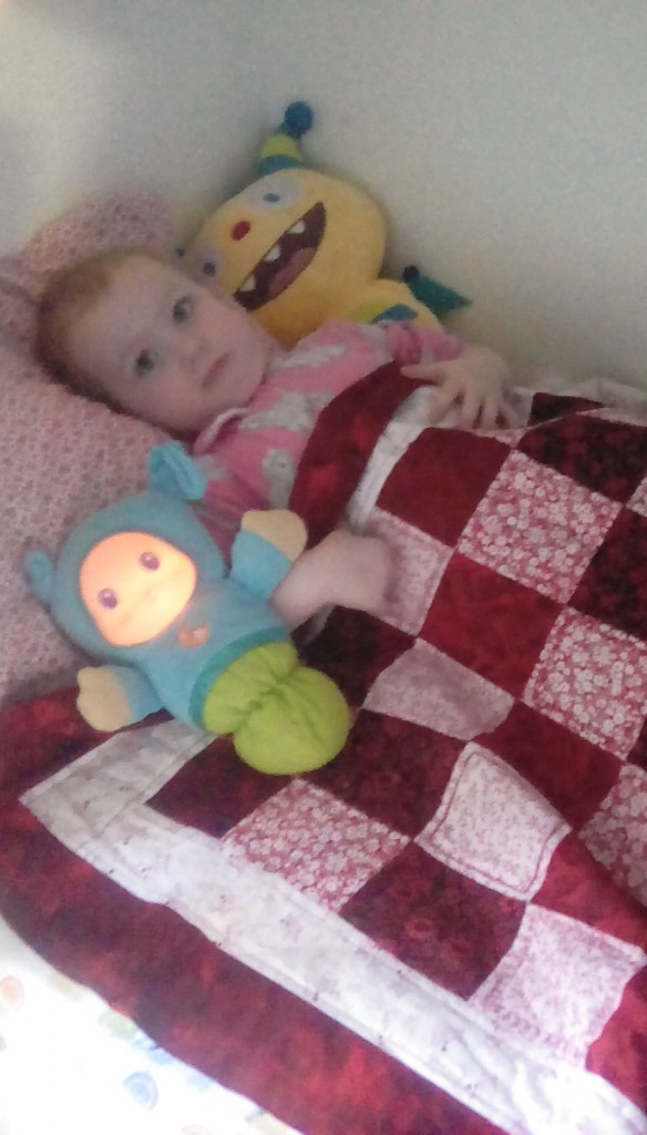 Hazel with her newest gift from my cousing Carla who is learning to quilt, she LOVES her quilt and her matching pillow case.