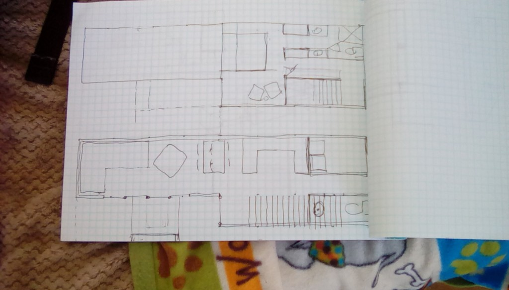 The container house, it's 2 40' highboy containers.  Working out some plans, it will be approximately 640 sf with three seperate and distinct outdoor areas, one will be a private yoga/martial arts area, one will be an extension of the living room (and could be a hybrid indoor space for holiday gatherings) the other will be a true outdoor space for gatherings complete with a fire pit and family seating