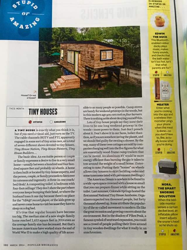 We were in Popular Mechanics, it was a meh piece! :)