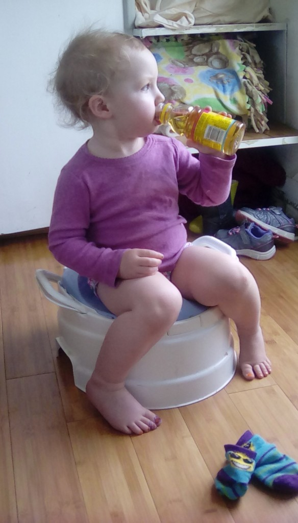 This happened.  She is pretty much potty trained, it's ME who needs to do better!