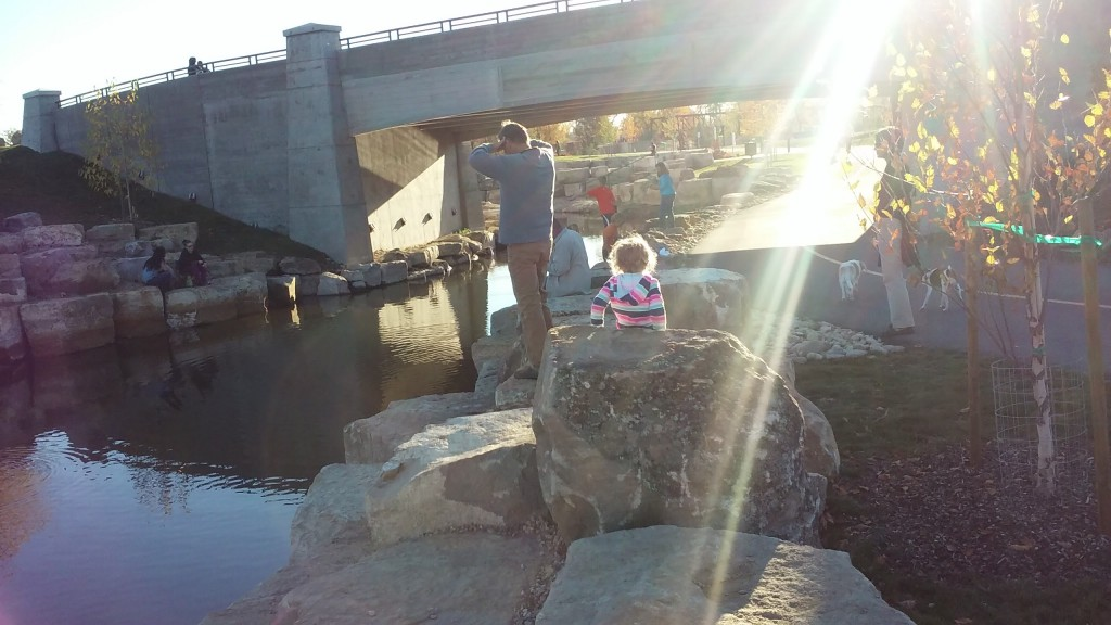 Watching the fish get caught, as we walked by three different people caught fish!