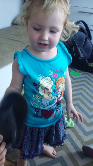 Her new favorite outfit from GG (great grandma)