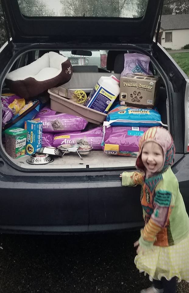 she raised a couple hundred pounds of cat foor and beds, and toys, it was amazing!
