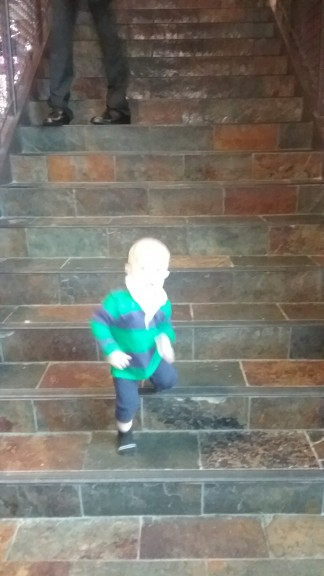 Miles can play on stairs ALLLL DAY.  It's his favorite.  he's working on his one foot at a time, up/down/around.  We literally went to an arcade and THIS was his favorite toy...