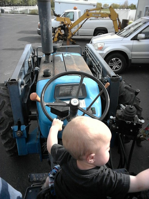 He's obsessed with the tractor.