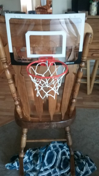 Granny got a basket ball hoop that can mount to the front side.