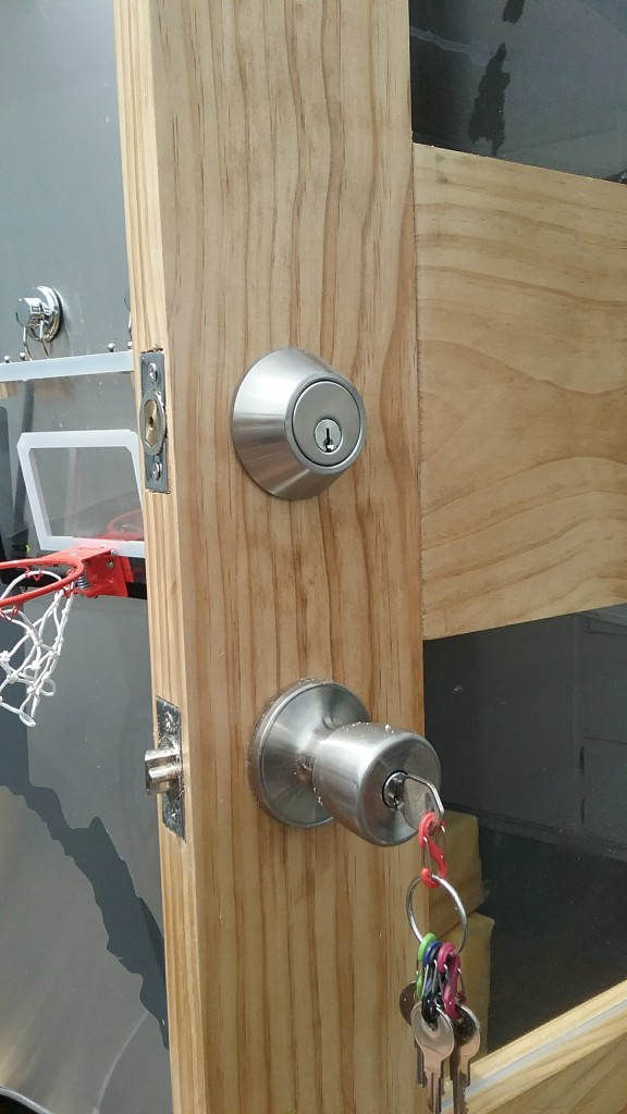 We added the deadbolt too, we weren't necessarily set on that but figured why not since we have some extra time waiting for parts.